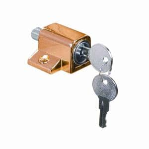 Keyed Sash Lock, 9/16 in. Projection, Diecast, Brass Plated Finish