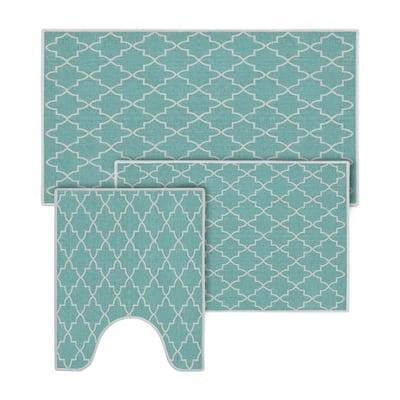 Turquoise Color Geometric Trellis Design Cotton Non-Slip Washable Thin 3 Piece Bathroom Rugs Sets