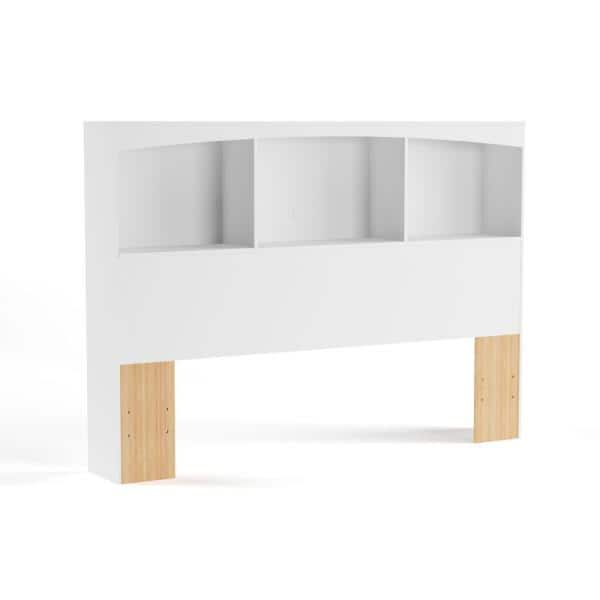 Pure White Full 54-inch South Shore Step One Bookcase Headboard with Storage