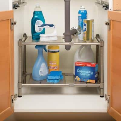 2-Tier Perforated Steel Expandable Sink Shelf
