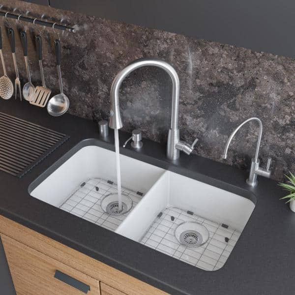 Alfi Brand Undermount Fireclay 32 In L 50 50 Double Bowl Kitchen Sink In White Ab512um W The Home Depot