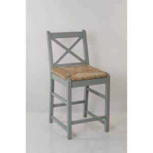 Dorsey Willow Green Wood Counter Stool with Back and Rush Seat (17.72 in. W x 38.58 in. H)
