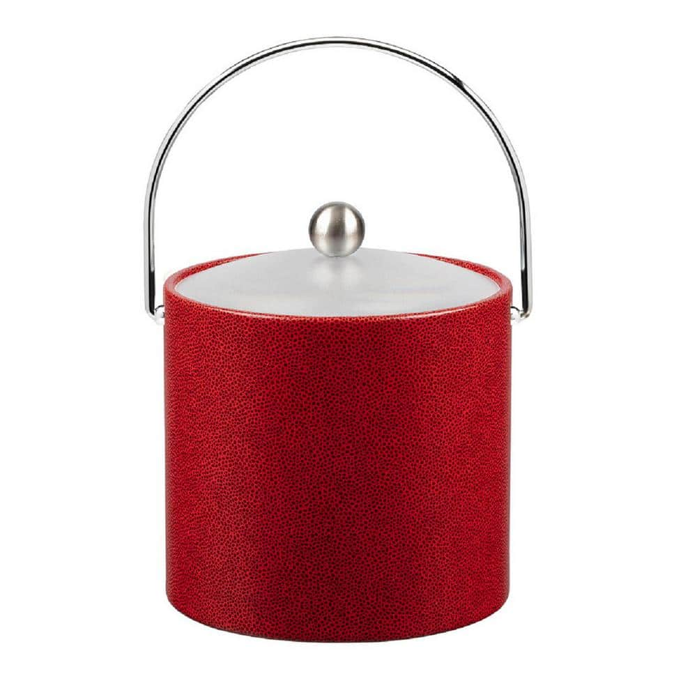 Kraftware 3 Qt Rocks Red Ice Bucket With Bale Handle And Acrylic Lid With Metal Ball Knob 58066 The Home Depot