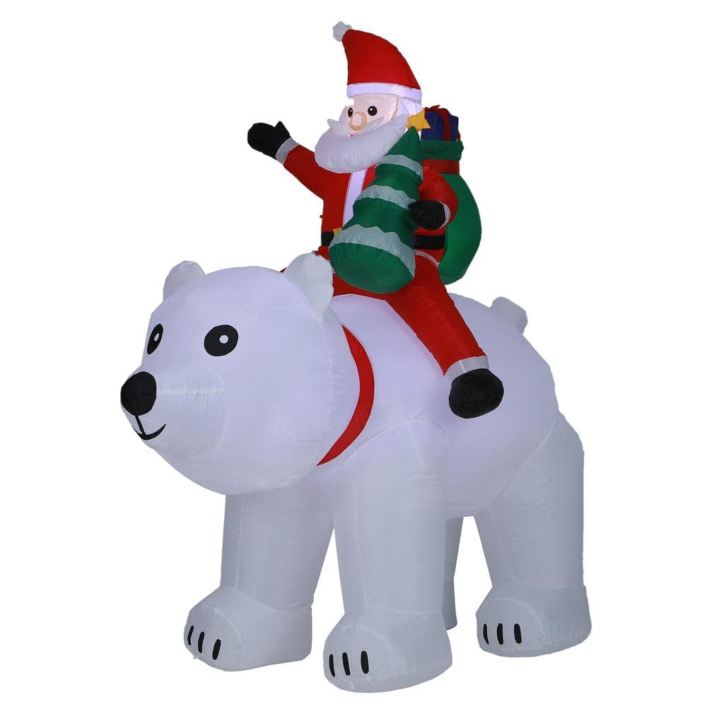 Christmas Inflatable Polar Bear Fishing with Penguin 6 ft with Built-in LEDs