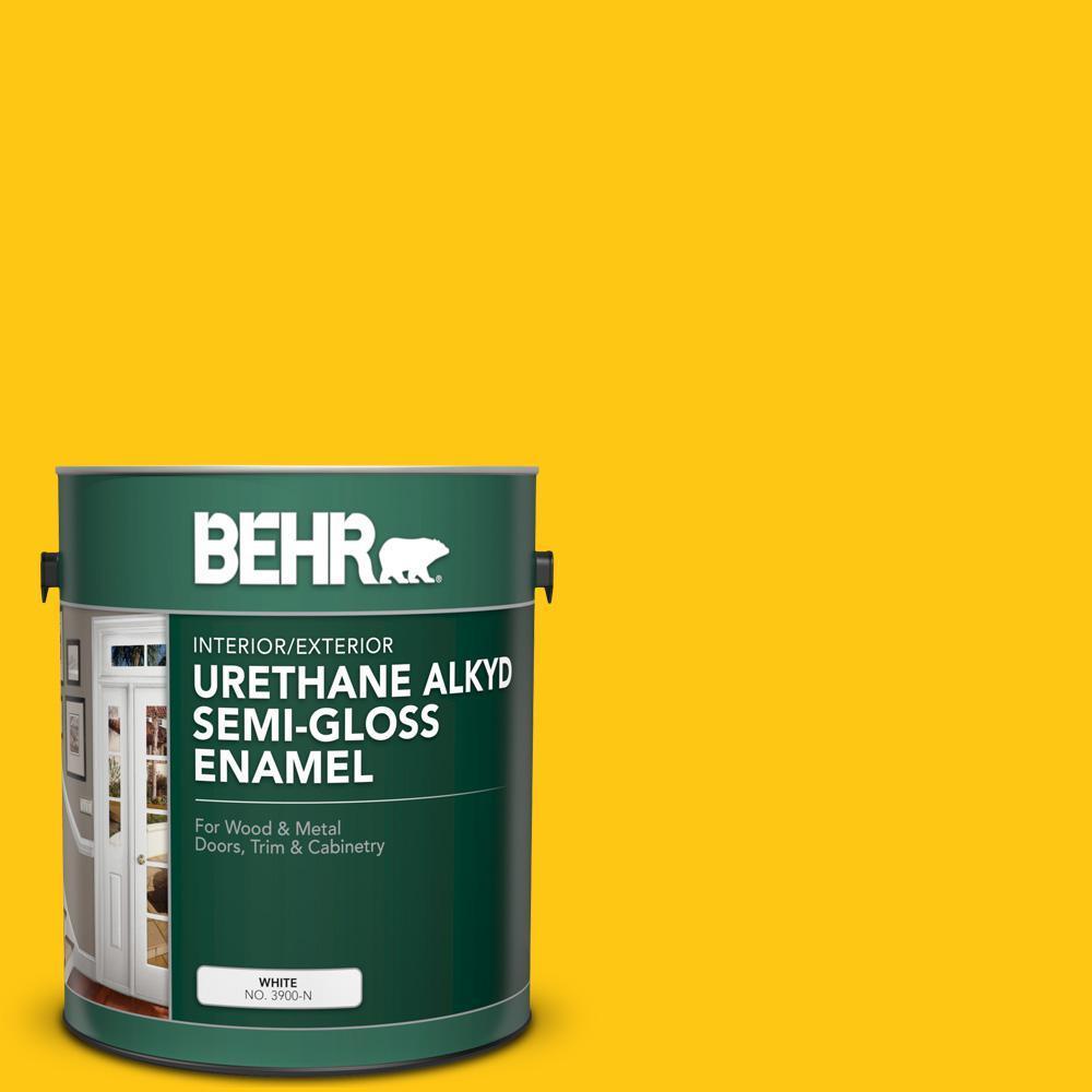 1 gal. #P300-7 Unmellow Yellow Urethane Alkyd Semi-Gloss Enamel Interior/Exterior Paint