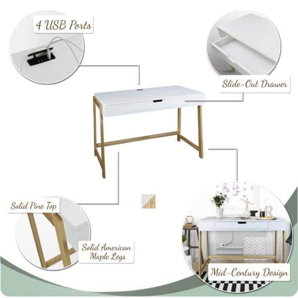 1 Drawer Writing Desk With, American Trails Art Deco Writing Desktop