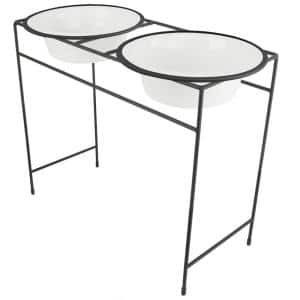 Modern Double Diner Feeder with Stainless Steel Cat/Dog Bowls, Pearl White
