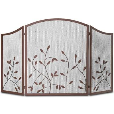 48 in. x 30 in. 3-Panel Fireplace Screen Panel Leaf Decorative Protector Spark Guard