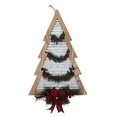 20.2 in. Battery Powered Pre-Lit LED Galvanized Wall Tree with Red Bow