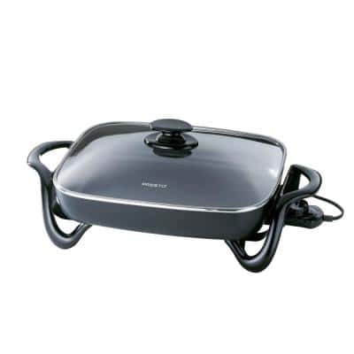 16 in. Black Non-Stick Electric Skillet with Lid