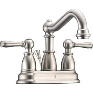 Edge Series 4 in. Centerset 2-Handle Mid-Arc Bathroom Faucet in Brushed Nickel
