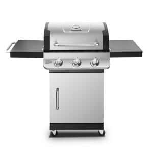 Premier 3-Burner Propane Gas Grill in Stainless Steel with Folding Side Tables