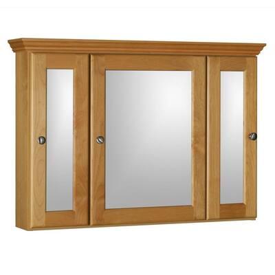 Ultraline 36 in. W x 27 in. H x 6-1/2 in. D Framed Tri-View Surface-Mount Bathroom Medicine Cabinet in Natural Alder