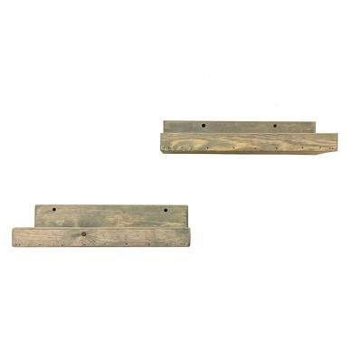 Rustic Luxe 7 in. x 16 in. Gray Pine Floating Decorative Wall Shelve