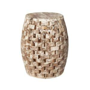 Maya Oval Wood Outdoor Garden Stool