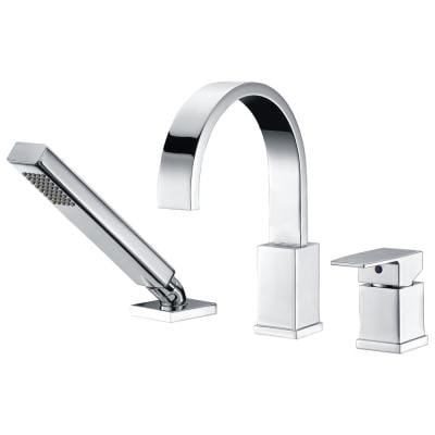 Nite Series Single-Handle Deck-Mount Roman Tub Faucet with Handheld Sprayer in Polished Chrome