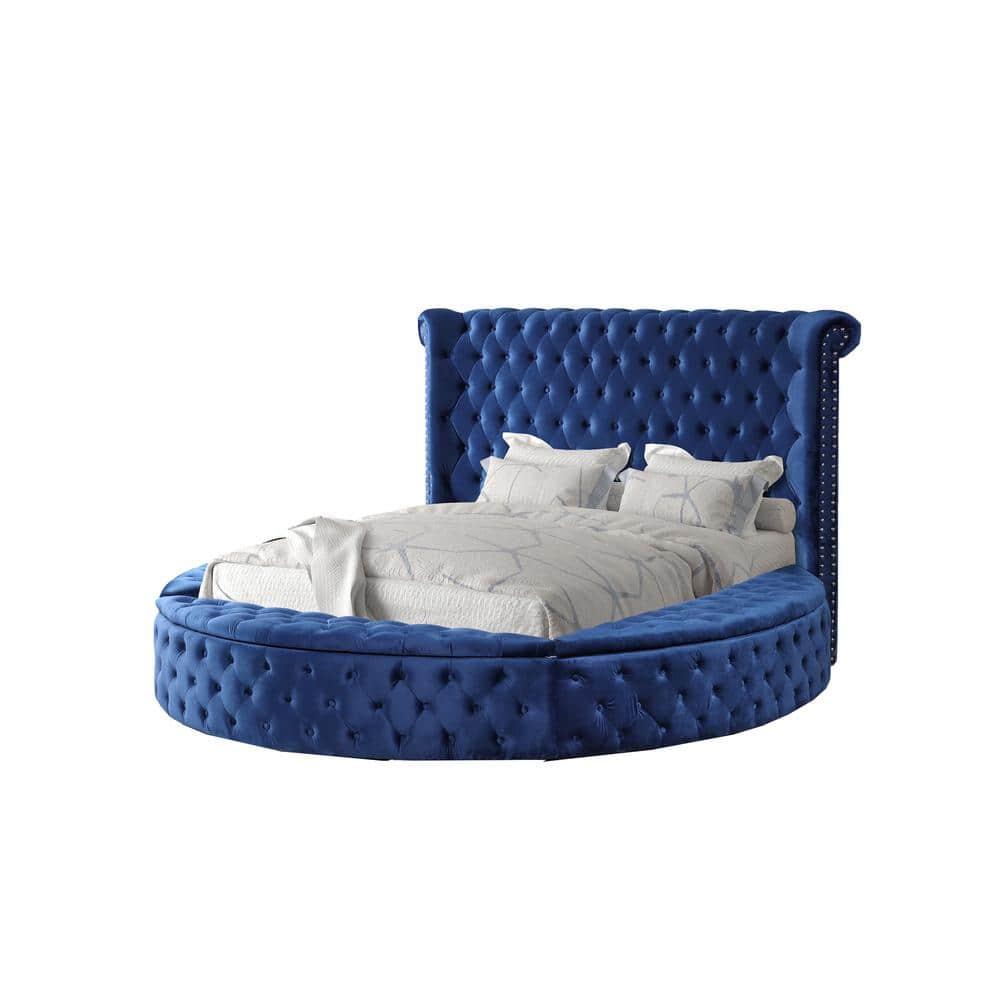 Best Master Furniture Isabella Blue California King Tufted Round Platform Bed Yy138blck The Home Depot