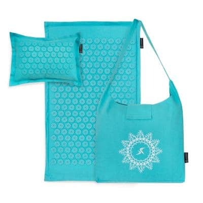 Bahama Blue 29 in. x 18 in. Ki Acupressure Mat and Pillow Set Back/Neck Pain Relief, Muscle Relaxation (3.63 sq. ft.)
