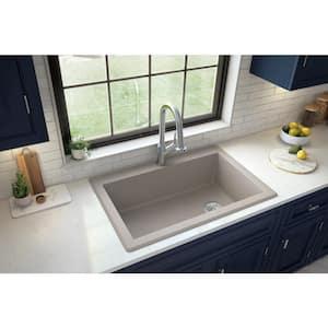 Drop-In Quartz Composite 33 in. 1-Hole Single Bowl Kitchen Sink in Concrete