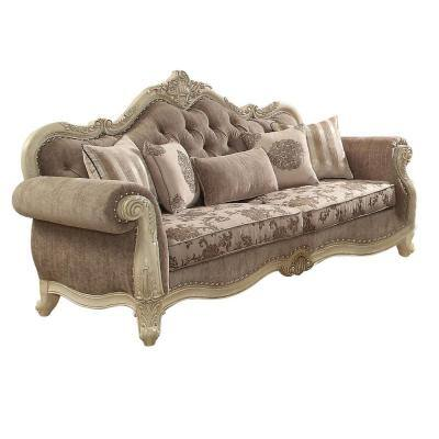 Homeroots Amelia 40 In Antique White Fabric 3 Seater Cabriole Sofa With Removable Cushions 348231 The Home Depot