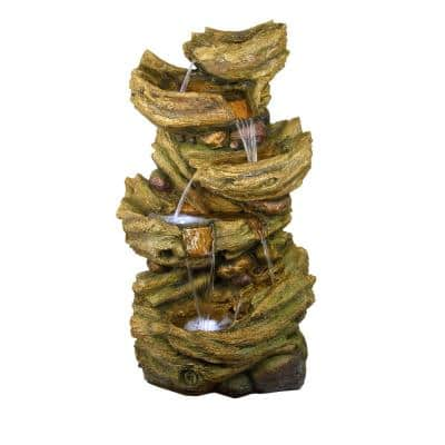 52 in. Tall Outdoor 5-Tier Tree Trunk Tiered Floor Fountain with LED Lights