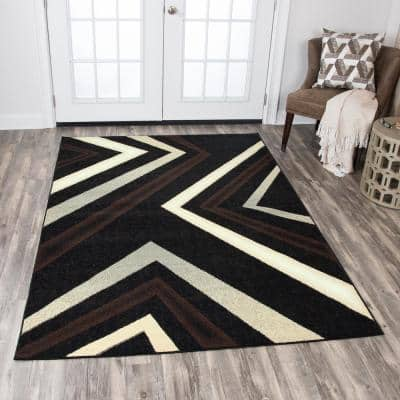 Xcite Black/Brown 8 ft. x 10 ft. Rectangle Area Rug