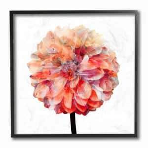 12 in. x 12 in. ''Bright Coral Watercolor Bloom Dahlia Flower'' by Kimberly Allen Framed Wall Art
