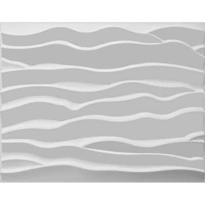 Falkirk Fifer 31 in. x 25 in. Paintable Off White Abstract Waves Fiber Decorative Wall Paneling