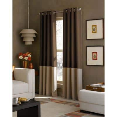 Chocolate Color Block Grommet Sheer Curtain - 52 in. W x 95 in. L