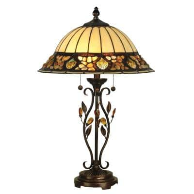27 in. Antique Golden Sand Pebblestone Table Lamp with Tiffany Art Glass Shade