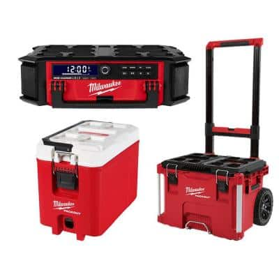 Milwaukee M18 Lithium-Ion Cordless PACKOUT Radio/Speaker w/ Built-In Charger w/PACKOUT 22-in Rolling Tool Box & 16 Qt. Cooler