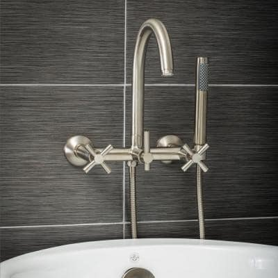 Modern 3-Handle Wall Mount Freestanding Tub Faucet with Handshower and Hose, Cross Handles, in Brushed Nickel