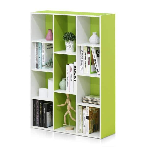 Furinno - 41.7 in. Green Faux Wood 11-shelf Cube Bookcase with Closed Storage