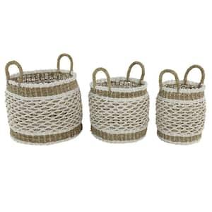Large Round Natural and White Lattice Design Plastic Rope Storage Baskets (Set of 3)