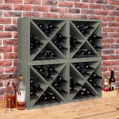 Eco zBoard 16.3 in. x 16.3 in. Grey 12-Bottle Stackable 1-Cube Wine Storage Rack Organizer