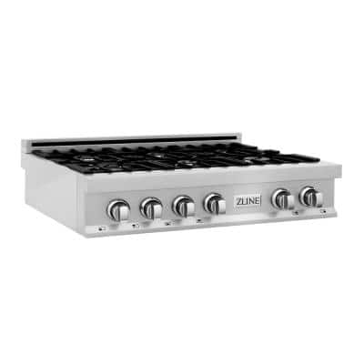 36 in. Porcelain Gas Cooktop in DuraSnow Stainless Steel with 6 Gas Burners