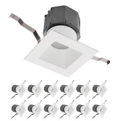 Pop-in 4 in. 3000K Square Remodel Recessed Integrated LED Kit in White (12-Pack)