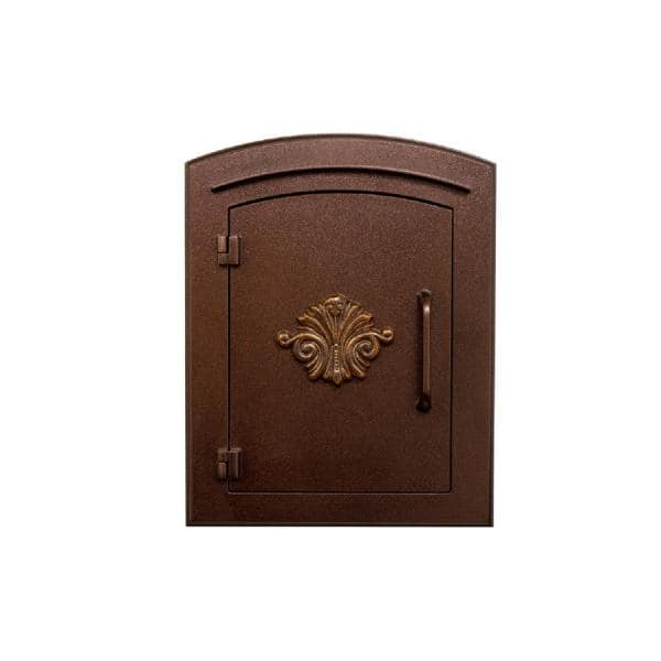 Manchester Manchester Antique Copper Column Mount Non Locking Mailbox With Decorative Scroll Logo Man 1401 Ac The Home Depot