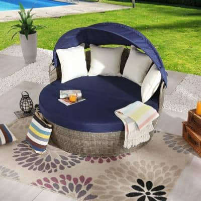 3-Piece Wicker Outdoor Day Bed with Blue Cushions