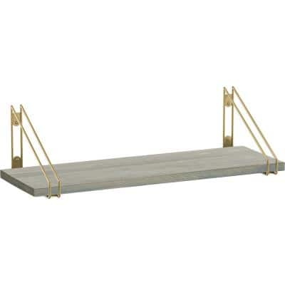 24 in. x 8 in. x 6 in. Grey Stained Solid Pine Decorative Wall Shelf with Brushed Brass Wire Frame Steel Brackets