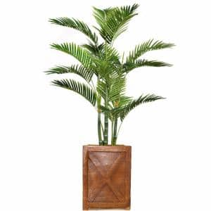 57 in. Tall Palm Tree Artificial Decorative Faux with Burlap Kit and Fiberstone Planter