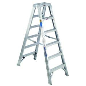 6 ft. Aluminum Twin Step Ladder with 375 lb. Load Capacity Type IAA Duty Rating