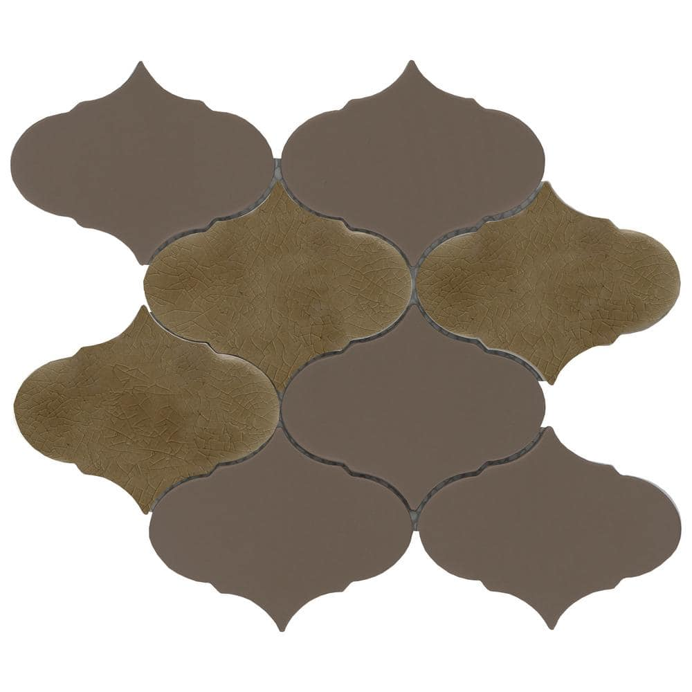 Emser Retro Ii Bronze 8 66 In X 10 24 In Arabesque Matte Cement Mosaic Tile 0 629 Sq Ft Each 1841101 The Home Depot
