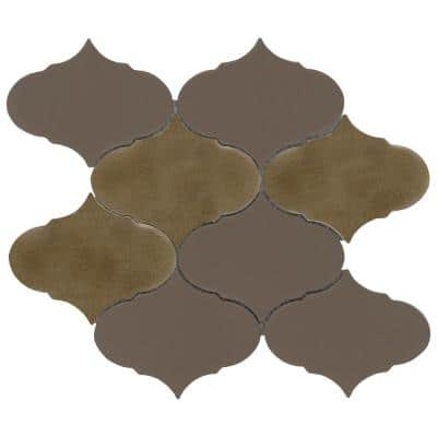 Retro II Bronze 8.66 in. x 10.24 in. Arabesque Matte Cement Mosaic Tile ( 0.629 sq. ft./Each)