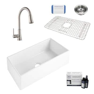 Harper All-in-One Farmhouse/Apron-Front Fireclay 36 in. Single Bowl Kitchen Sink with Pfister Faucet and Drain