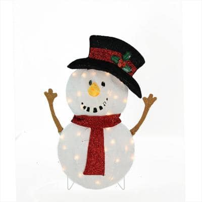 24 in. Candy Cane Lane Lighted Smiling Snowman Christmas Outdoor Decoration