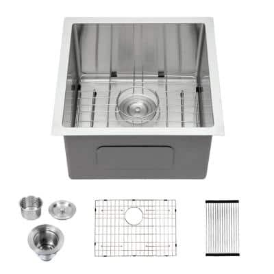 Stainless Steel 16-Gauge 17 in. Single Bowl Undermount Kitchen Sink with Bottom Grid