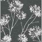 One O'Clock Charcoal Floral Vinyl Peel & Stick Wallpaper Roll (Covers 30.75 Sq. Ft.)