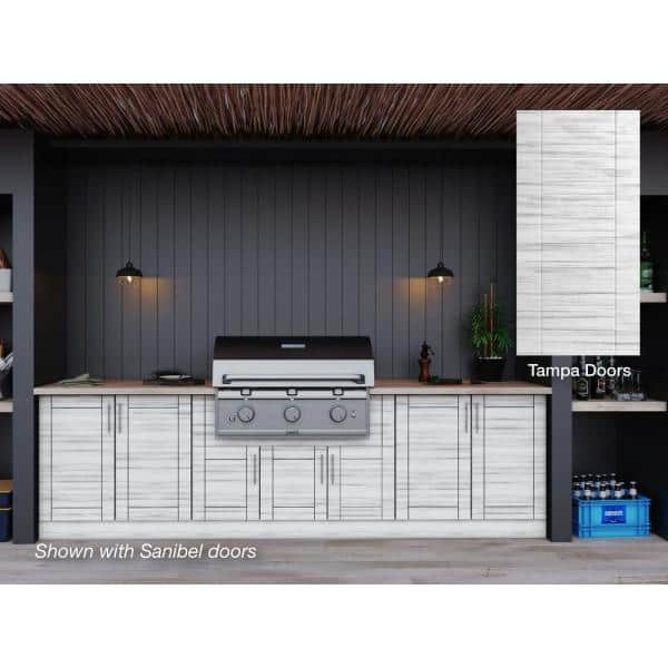 Weatherstrong Tampa Whitewash 17 Piece 121 25 In X 34 5 In X 28 In Outdoor Kitchen Cabinet Set Wse120wm Tww The Home Depot
