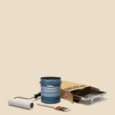 1 gal. #N290-2 Authentic Tan Extra Durable Satin Enamel Interior Paint and 5-Piece Wooster Set All-in-One Project Kit